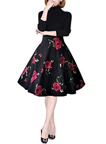 emondora Women Printed Flared Skirt Retro Casual 1950s Swing Pleated Midi Skirts Black XXL (Womens Skirt Retro)