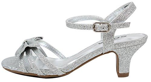 Soda Girl's Open Toe Strappy Bow Tie Dress Sandal Heel (Silver, 3 M US Little Kid) (Dress Strappy Silver Sandal)