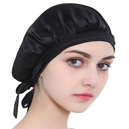100% Mulberry Silk Night Sleeping Cap Bonnet Hats for Women, Chemo Caps Cancer Headwear Skull Cap,Very Silky & Comfortable Black