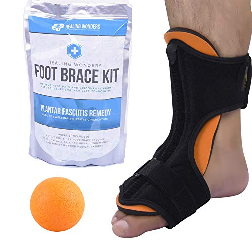 Splint Stretcher - Plantar Fasciitis Night Splint Arch Support - Healing Wonders Foot Brace Kit [With Massage Ball] Pain Night Splints and Tendon Stretcher for Planter Fascitis, Achilles Tendonitis, Heel Spur Relief