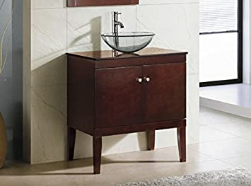 Solid Wood 30u0026quot; Bathroom Vanity Cabinet Glass Vessel Sink ...