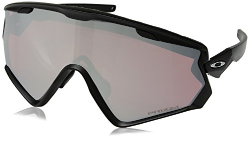 Oakley Men's OO9418 Wind Jacket 2.0 Shield Sunglasses, Matte Black/Prizm Snow Black, 45 ()