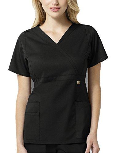 WonderWink Size Next Elizabeth Mock Wrap Women's Plus Scrub Top, Black, 2X-Large ()