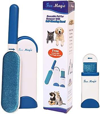 Fur Magic - Cepillo de pelo para mascotas con base de autolimpieza, cepillo de piel de doble cara con cepillo de tamaño de viaje para perro y gato