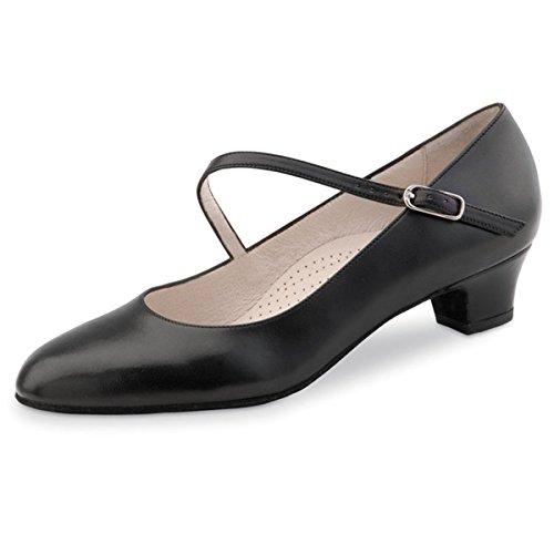 Werner Kern–Zapatos de baile para mujer Cindy 3,4Comfort piel negro