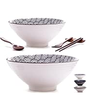 11 Pieces Premium Ceramic XL Large Ramen Bowls Set: 2 White 54oz Noodles Bowl. Asian Chinese Japanese or Pho Soup. Includes: Wood Fork, Spoon, Chopsticks and Stands. and Table Runner.