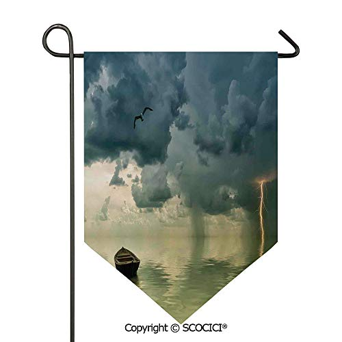 SCOCICI Easy Clean Durable Charming 28x40in Garden Flag Old Boat in The Ocean Near The Vivid Streak Bolt of Lightning with A Sea Gull Photo,Blue Green Double Sided Printed,Flag Pole NOT Included