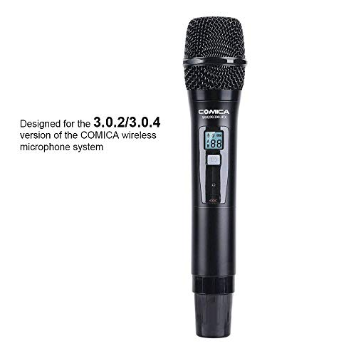 Comica UHF 96-Channel Single Wireless Handheld Transmitter for WM200 Microphone System connect XLR Camcorder Camera & Smartphone(394-Foot Range)(Version 3.0.2/3.0.4 of Receiver Available)