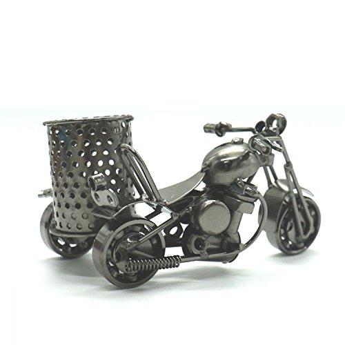RTNOW Metal Motorcycle Pen Holder Antique Handicrafts Retro Beautiful Craft Model Desktop (Motorcycle Pen)