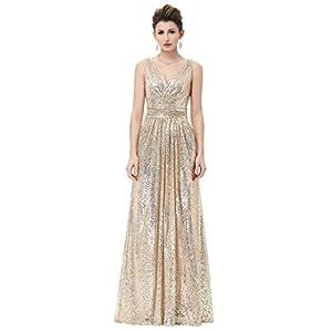 2c967d2834bd Kate Kasin Plus Size Long Sequined Bridesmaid Dress for Women Evening Party  V-Neck Gold USA18 KK199-1