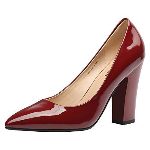 JARO VEGA Women's Patent Leather Pumps Thick Heel 4'', Pointed Toe Slip On Dress Shoes Burgundy Size 9