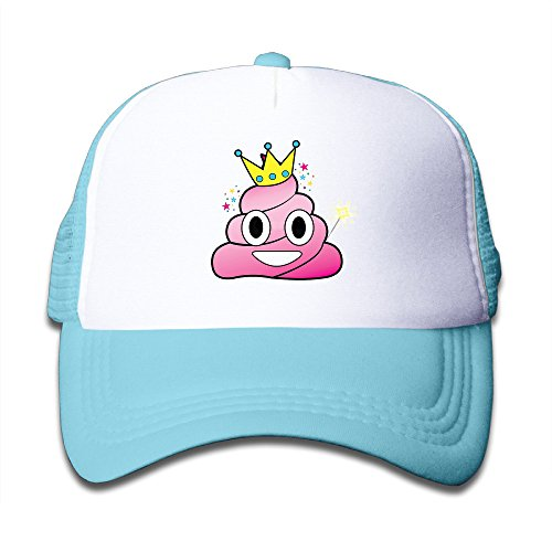 Princess Poop Emoji Kid's Mesh Cap Trucker Caps Hat Adjustable SkyBlue - Quick Easy Costumes For Boys