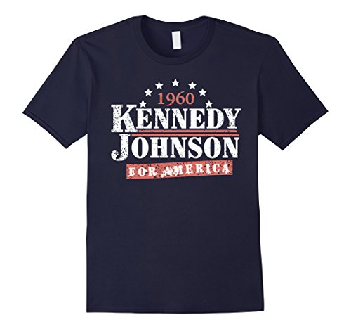 1960's Mens Shirt - Mens Vintage Kennedy Johnson 1960 Presidential Campaign T-Shirt XL Navy