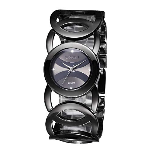 JIANGYUYAN Clearance Womens Ladies Unique Fashion Classic Casual Luxury Business Dress Runway Watches Quartz Round Dial Stainless Steel Round-Hollowed Bracelet Bangle - Black Womens Steel Bracelet Dial