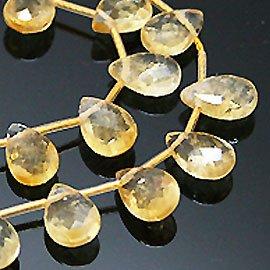 天然石 シトリン 黄水晶 ペアシェイプカットビーズ timy310 アクセサリーパーツ 3本  B07SCKPMJ2