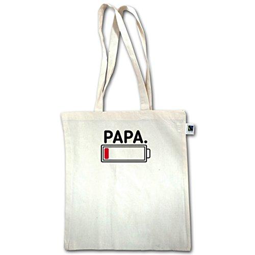 Partner-Look Familie Papa - Papa leere Batterie - Unisize - Natural - XT600 - Jutebeutel lange Henkel a24DUuuh