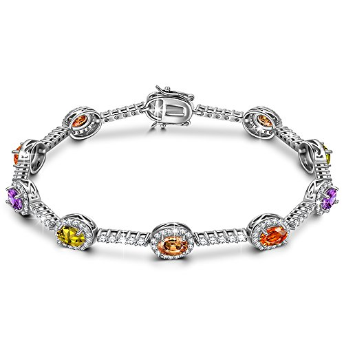 [Gifts for Women NINASUN Rainbow Sugar s925 Sterling Silver CZ Bracelet Jewelry for Women Gifts for Mom Wife Daughter Girlfriend Grandma Sister Girls Birthday Graduation Anniversary Christmas] (Best College Halloween Outfits)