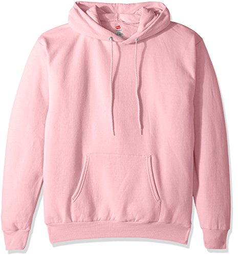 Hanes Men's Pullover EcoSmart Fleece Hooded Sweatshirt, Pale Pink, Small