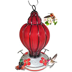 Hand Blown Glass - Red Lantern - Hummingbird Feeder