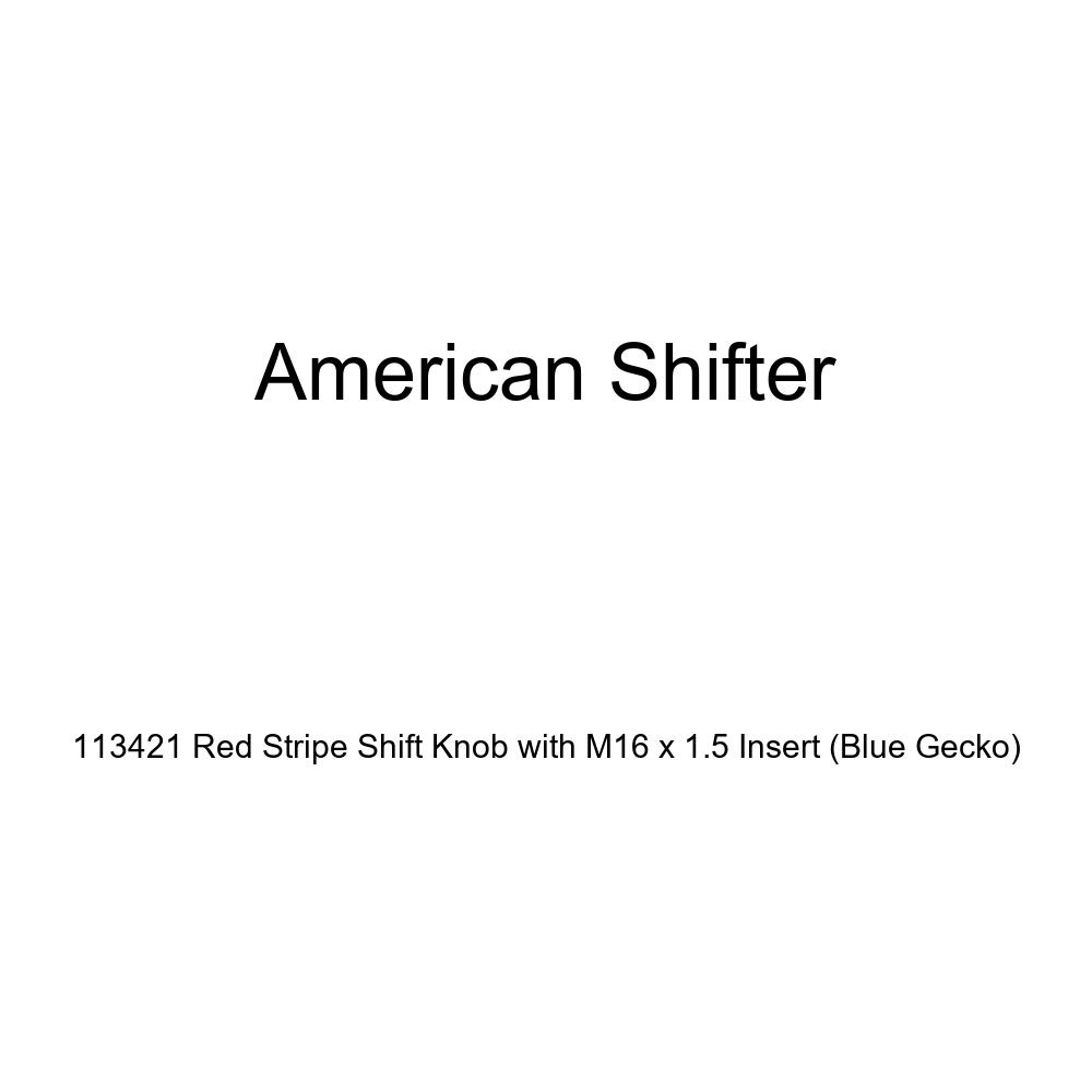 American Shifter 113421 Red Stripe Shift Knob with M16 x 1.5 Insert Blue Gecko
