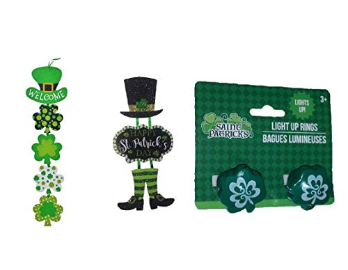 baby64 St. Patrick's Day Shamrock, Light up Rings,Decoration Hanging Welcome Wood Sing-Dangle Sings Width -6 inch Combo