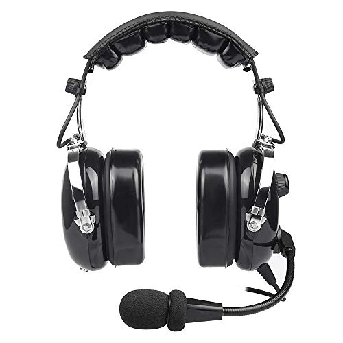 Headset Ear Aviation - General Aviation Pilot Headset with Comfortable Ear Seals, Noise Cancelling, MP3 Input, GA Dual Plug and Carrying Case