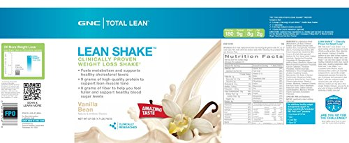 Gnc Total Lean Shake, Vanilla Bean, 1.69 Pounds