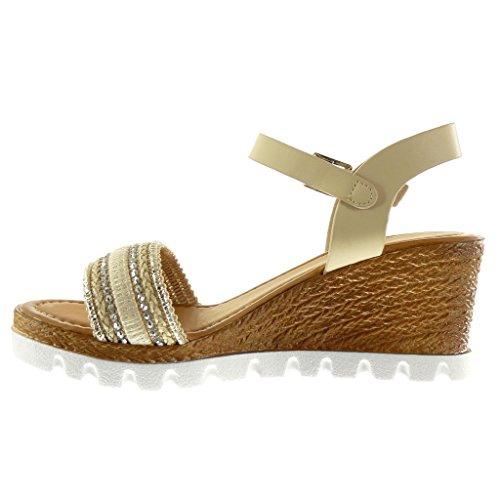 Compensé Mode Cm Basket Femme Chaussure Plateforme Talon Tréssé Beige Sandale Mule Angkorly 7 Diamant Semelle Strass Lanière qYwOUZ5dx