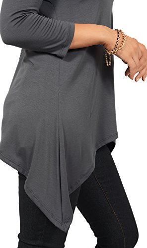 Blusa Suleta de Mujeres con Magas Largas y Cuello Redondo Casual Tunic Top Gris Oscuro