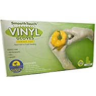 100 Disposable Vinyl Gloves, Non-Sterile, Powder-Free, Smooth Touch, Food Service Grade, Large Size [100 Gloves per Box]