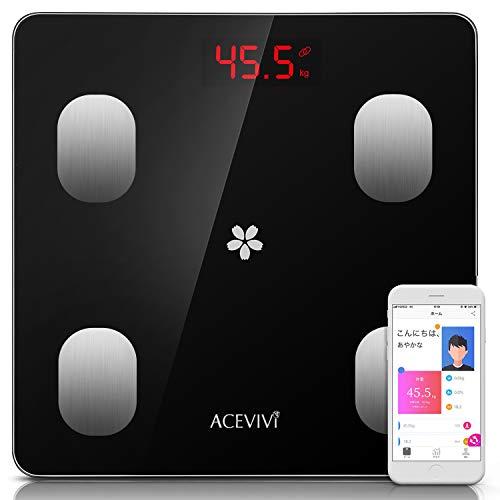 ACEVIVI 体組成計 体脂肪計·体組成計·体重計 高精度 体重 体脂肪率 BMI 内臓脂肪量 水分率 筋肉率 推定骨量 基礎代謝 スマホ Bluetooth対応 iOS/Androidアプリで健康管理 スマートスケール【12ヶ月保証】【日本語説明書】