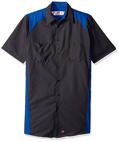 Red Kap Men's Big Short-Sleeve Motorsports Shirt, Charcoal/Royal Blue, 2X-Large/Tall