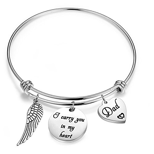 Gzrlyf Memorial Charm Bracelet Loss Memorial Gift I Carry You in My Heart Jewelry Sympathy Gift Remembrance Mom Dad Gift (Loss of dad Bracelet)