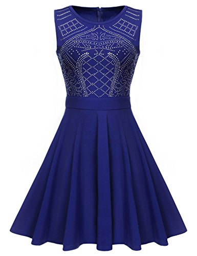 ELESOL Women 1920 Rhinestone Embellished Short Prom Gowns Homecoming Dress Blue_L