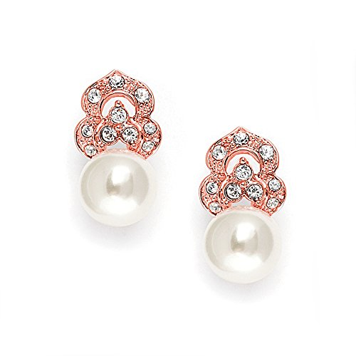 - Mariell Rose Gold Pearl Bridal Clip-On Earrings for Women, Vintage Wedding Style - Cream Pearls & Pave CZ