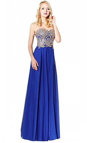 blue strapless floor length prom dress - 9