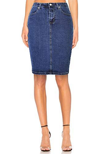 Women's Stretch Denim High Waist Pencil Skirt Midi Knee Length ()