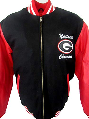 Georgia Bulldogs Mens Size Medium, Embroidered, Full Zip 2 Time National Champions Wool Leather Jacket AUGR 4 M