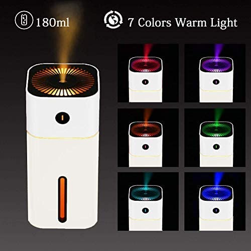Arr/êt Automatique 180ML Portable Humidificateur d/'Air Maison Voiture avec 7 Couleurs Lumi/ères LED USB Humidificateur d/'Air Chambre Silencieux pour Bureau NovoLido Mini Humidificateur B/éb/é Noir