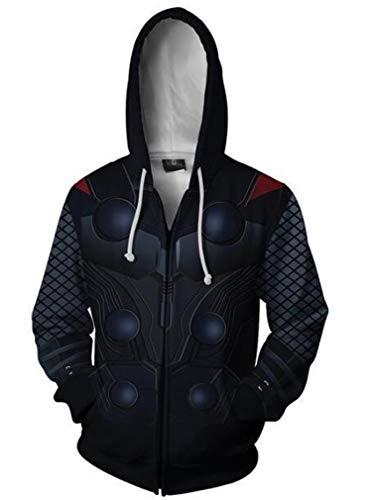 MeiMei Superhero Thor Printed Hoodie Jacket Zipper Cosplay Halloween Costume (S(Chest104cm/40.9in, A)]()