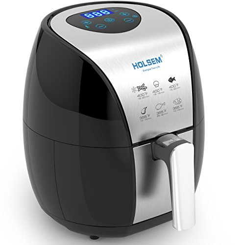 HOLSEM Air Fryer with Rapid Air Circulation System , 3.4 QT Capacity, Temperature up to 400°F, Low Fat Healthy Air Fryer, Black / Stainless Steel, 1500W(LED Display) (Stainless Grill Steel Pedestal)