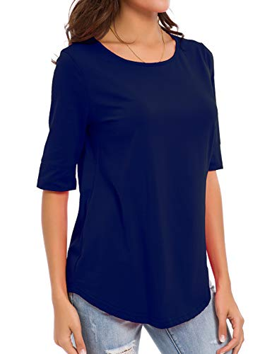 - nordicwinds Womens Cotton Tops Casual Fitted Soft T Shirt Comfy Half Sleeve Tee Solid, Navy Blue, Large