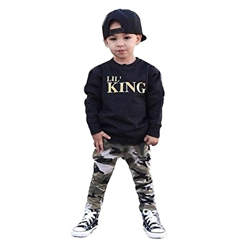 Prince Outfits (BabiBeauty Kids Baby Boys Outfit Letter Long Sleeve Top + Camouflage Pants Set (Black & Camouflage, 80/9-12 Months))