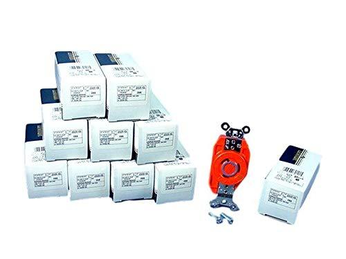 Leviton 2320-IG Orange NEMA L6-20R 20A 250V 2P3W Isolated Ground Twist Lock Receptacles- Pack of 10 -