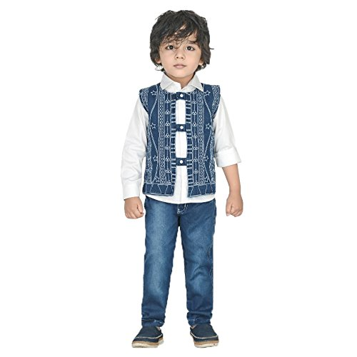 466a5a930fc4 Dotson Party Wear Boys Suit for Kids - Full Sleeve White Shirt with  Sleeveless Jacket   Denim Jeans (Blue)  Amazon.in  Baby