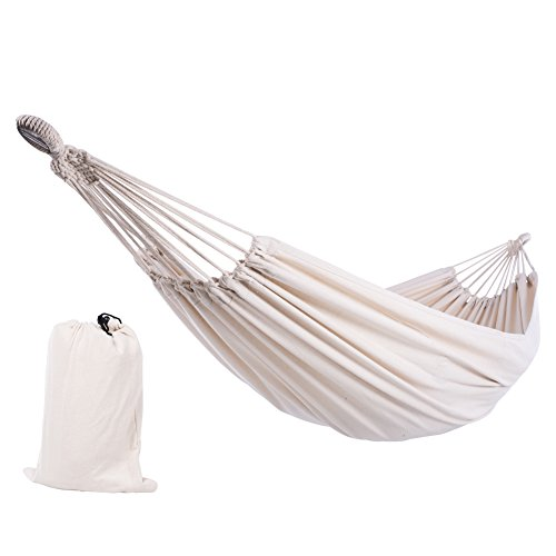 SUNCREAT 12ft Double Brazilian Wide Hammock Cotton Fabric Travel Camping Hammock with 2 Person for...