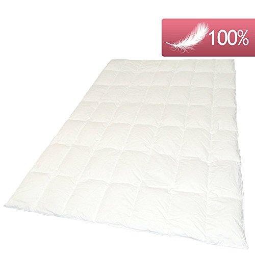 Daunendecke Sommer 200x200 cm 630g 100% weiße sächsische neue Gänsedaunen Daunenbettdecke Kassettenbett Bettdecke sehr leicht, deutsches Qualitätsprodukt