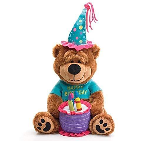 Burton  amp; Burton Plush Teddy Bear with Cake That Plays  #34;Happy Birthday To You #34;