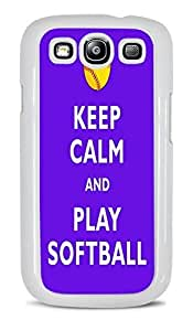 Keep Calm and Play Softball White Hardshell Case for Samsung Galaxy S3 by ruishername