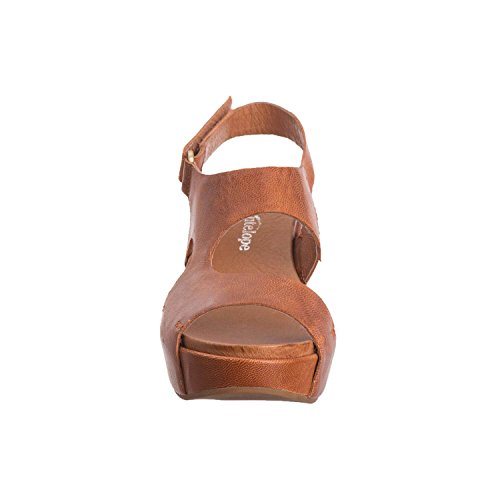 Antilop Kvinna 430 Nedskärningar Läder Sido Sandal Tobak
